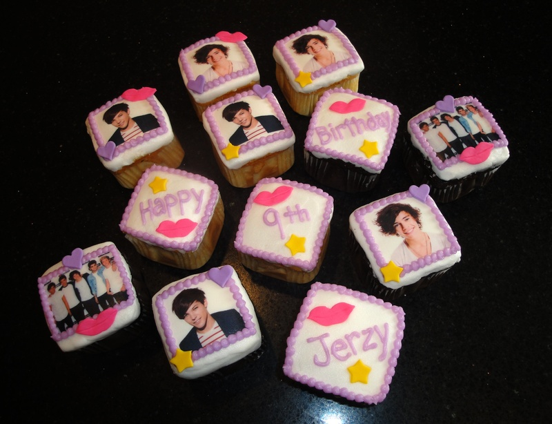 One Direction square cupcakes