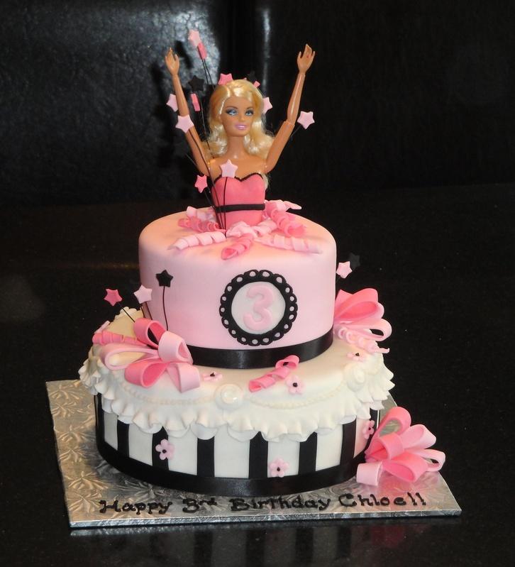 Pink And Black Barbie Cake