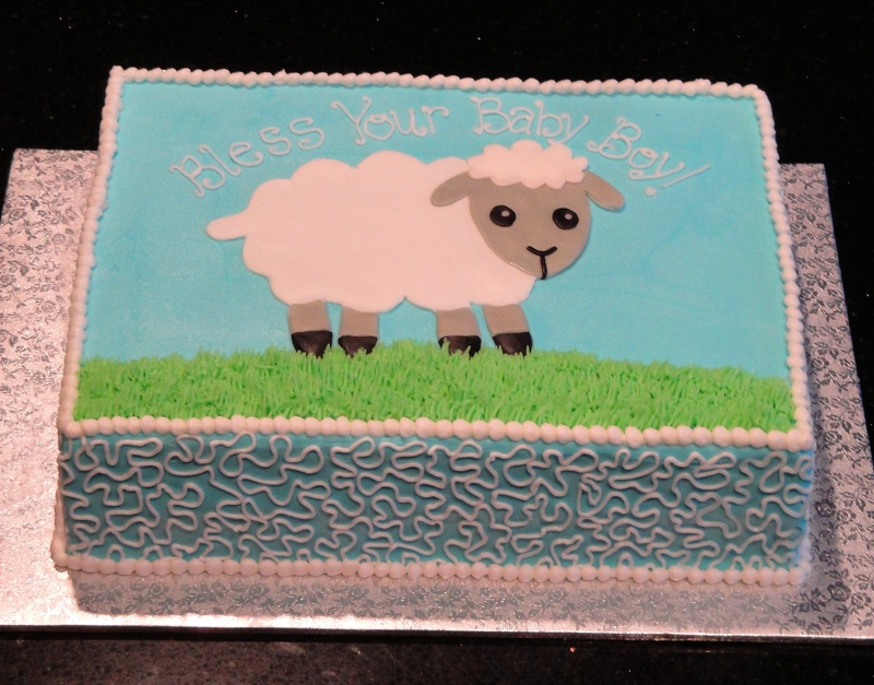 Baby Sheep Baby Shower Cake